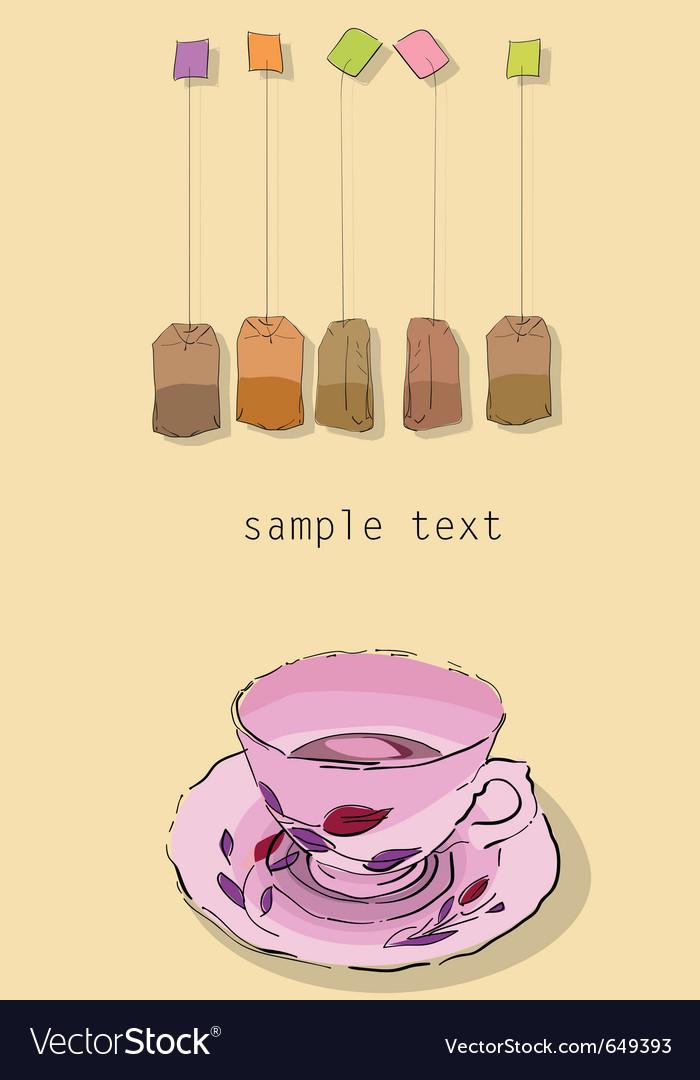 Tea party invitation card vector