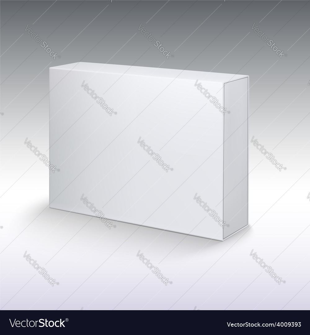 White product cardboard package box mockup vector