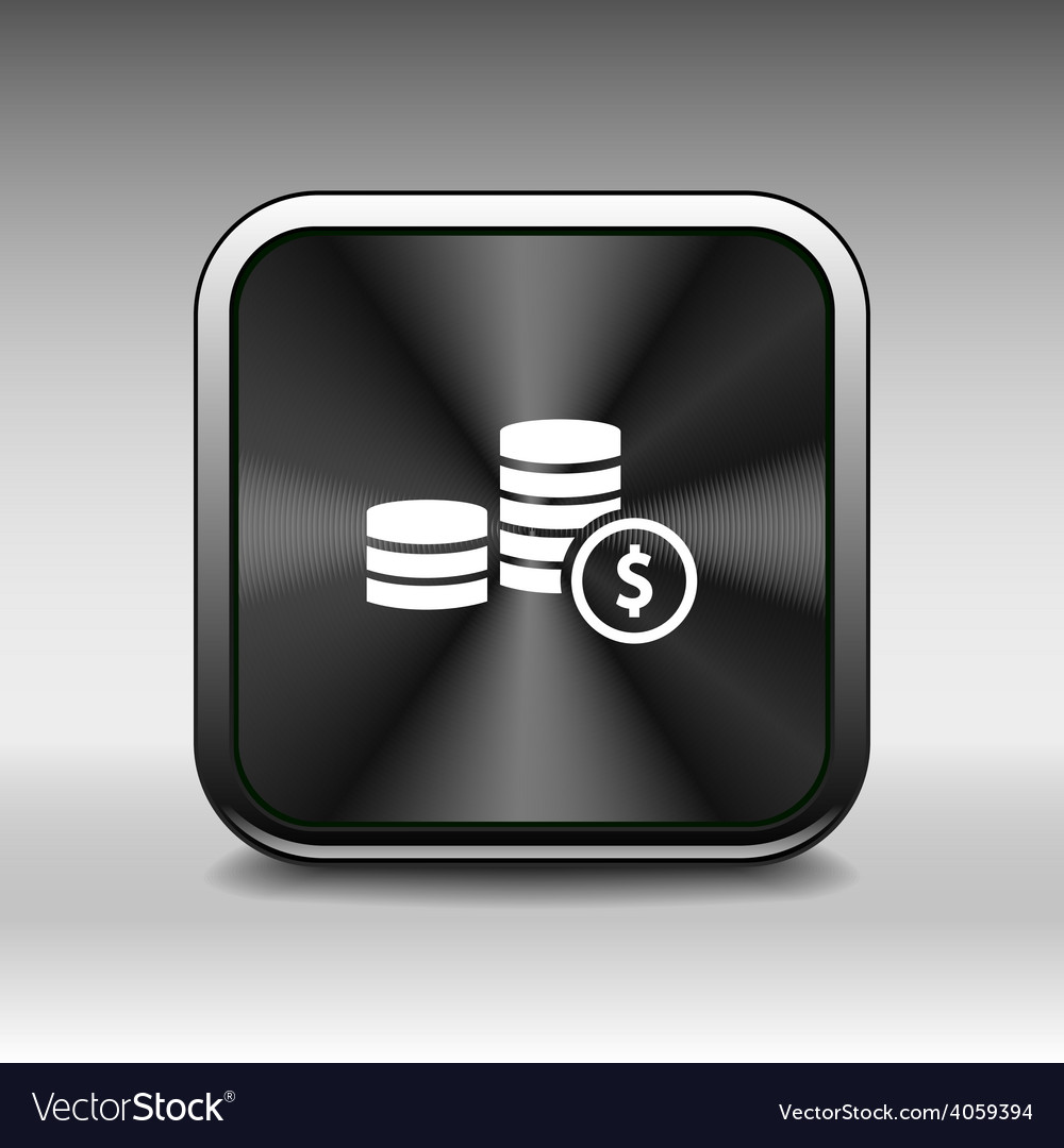 Icon coin white business sign wealth finance vector