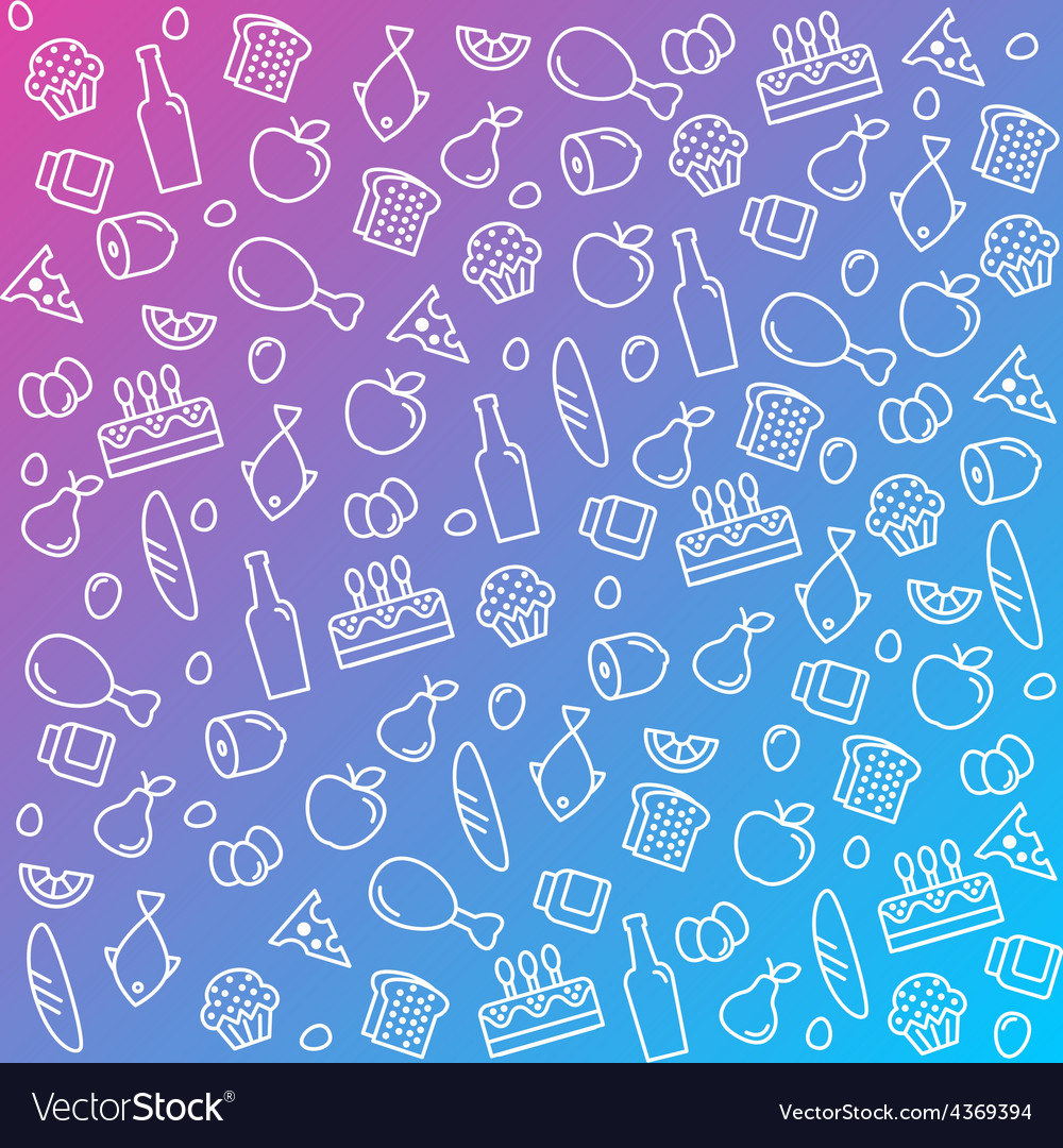 Pattern icons line outline food and products in vector