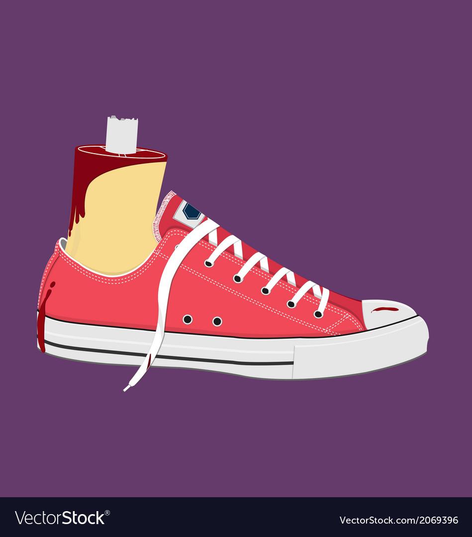 Bloody human body part foot wear on sneaker vector