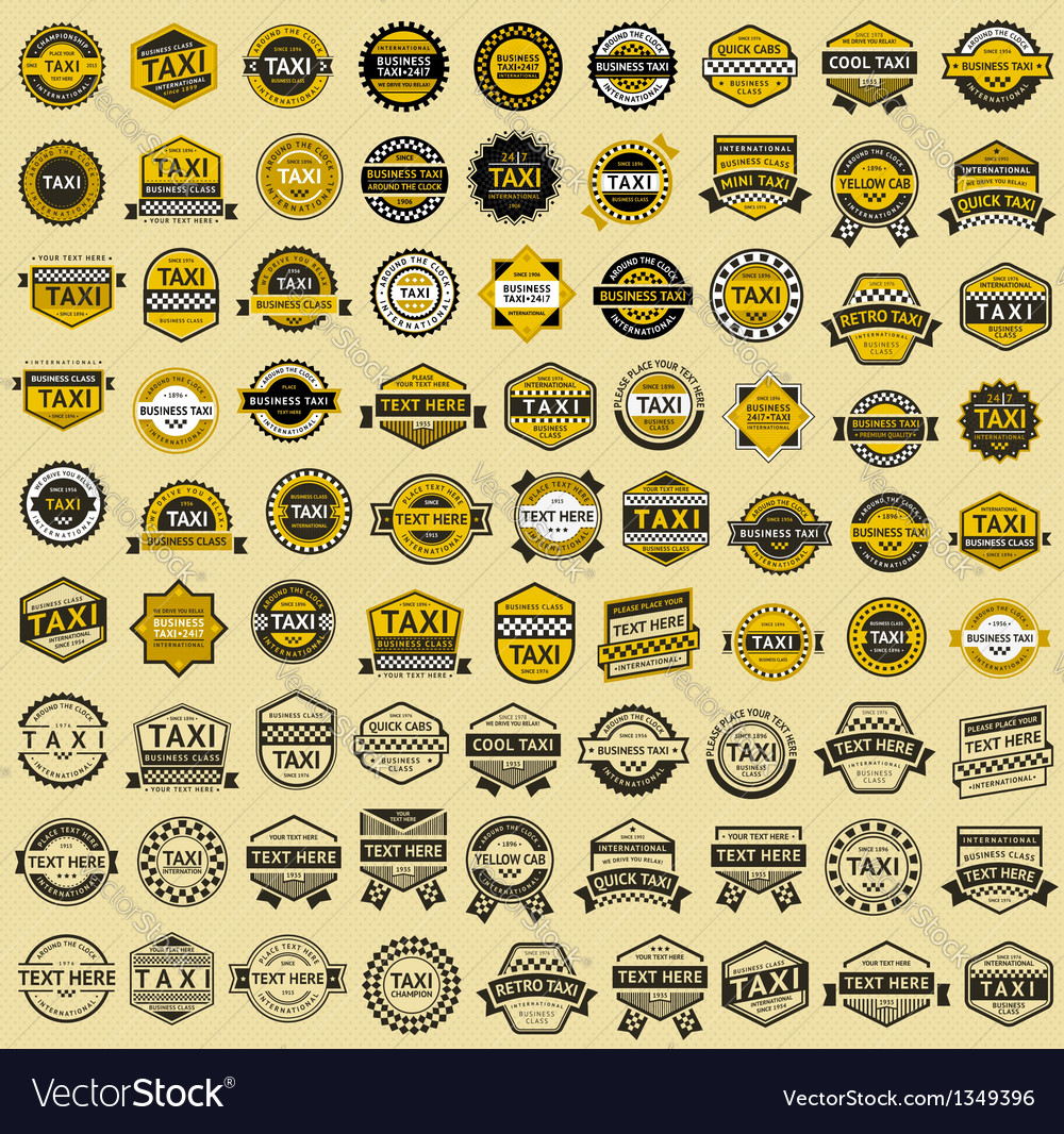 Taxi insignia - vintage style big set vector