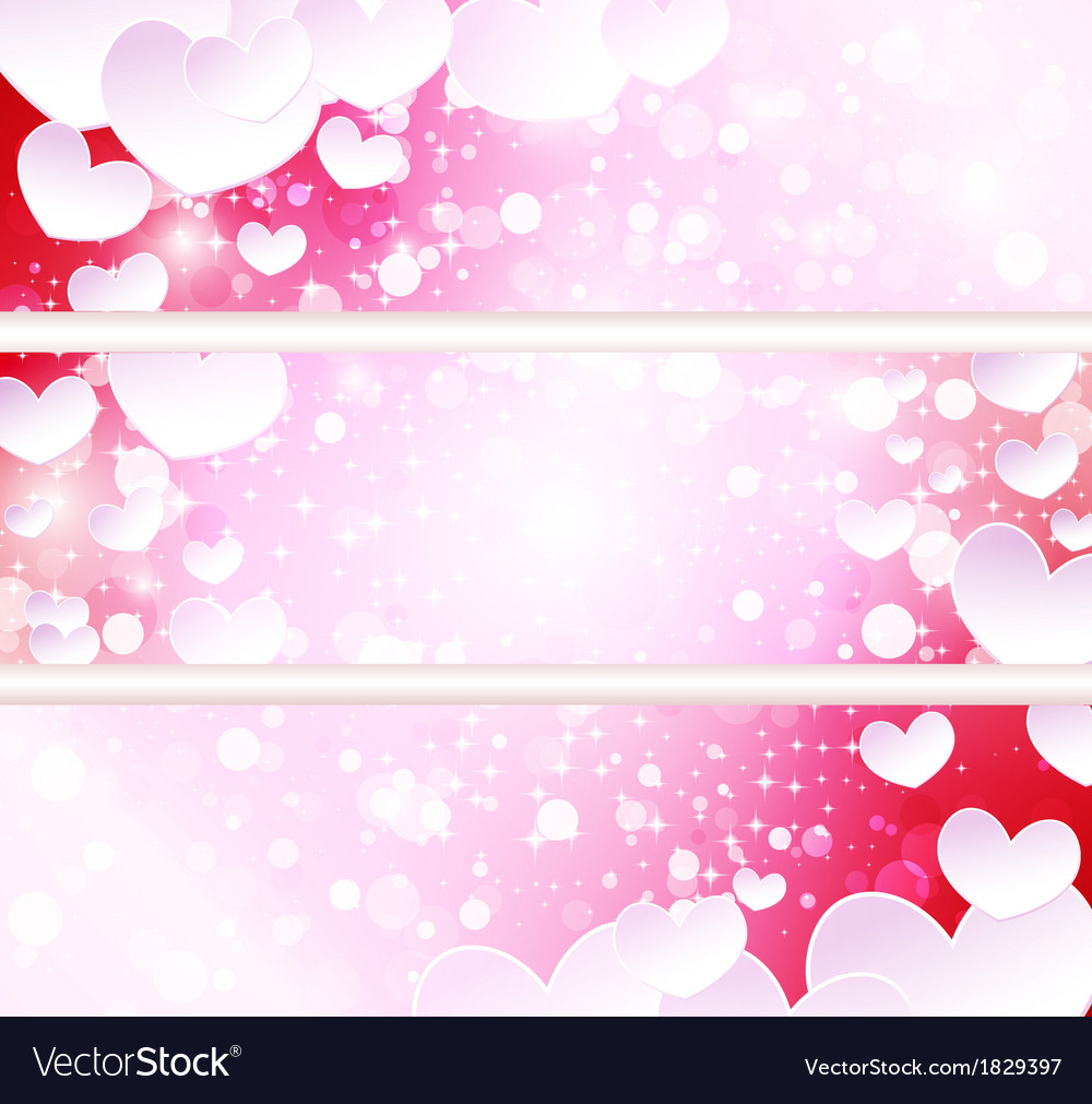 Glowing banners with paper hearts vector