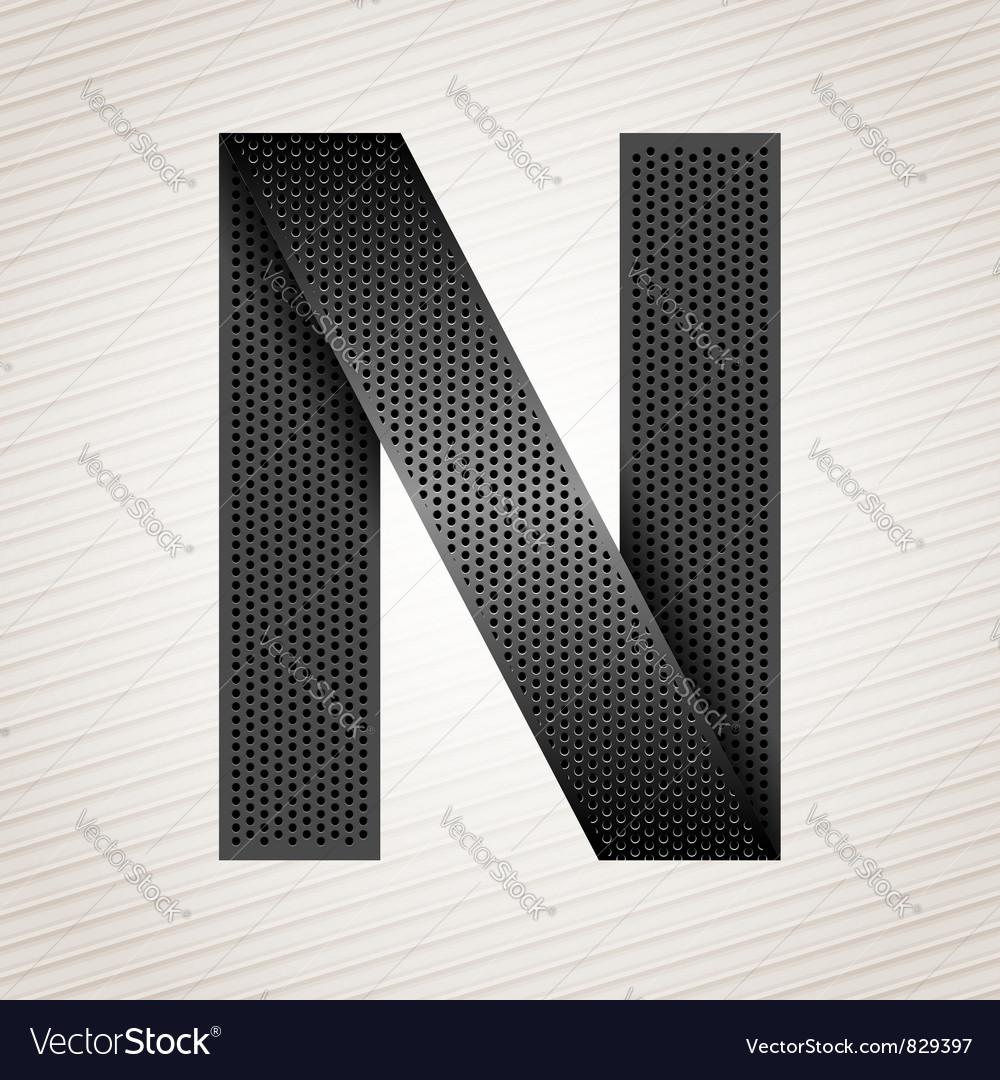 Letter metal ribbon - n vector