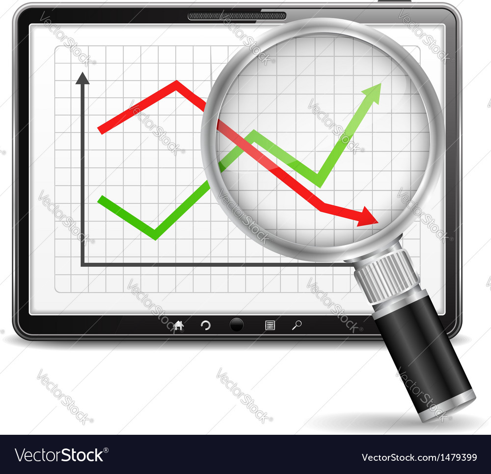 Chart on the screen of tablet pc vector