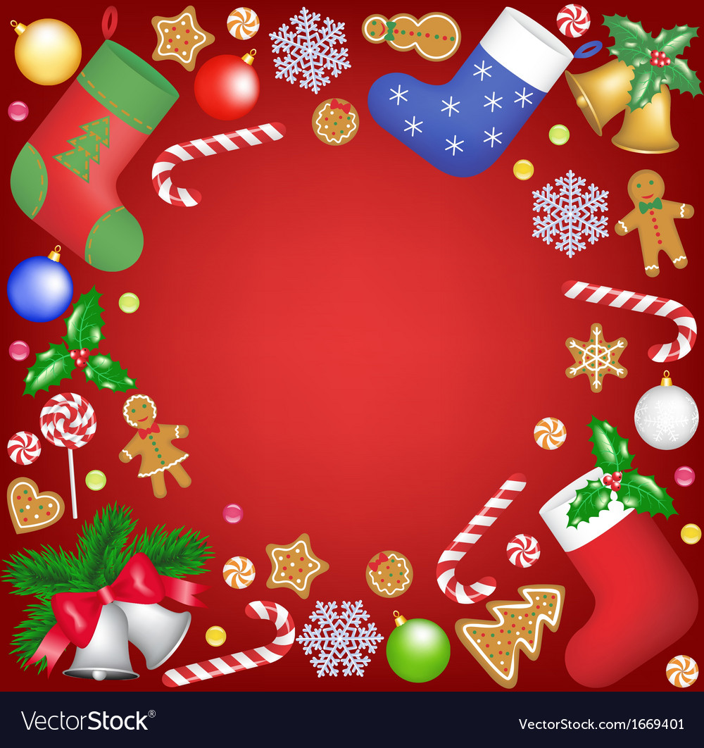 Christmas decoration frame on red background vector