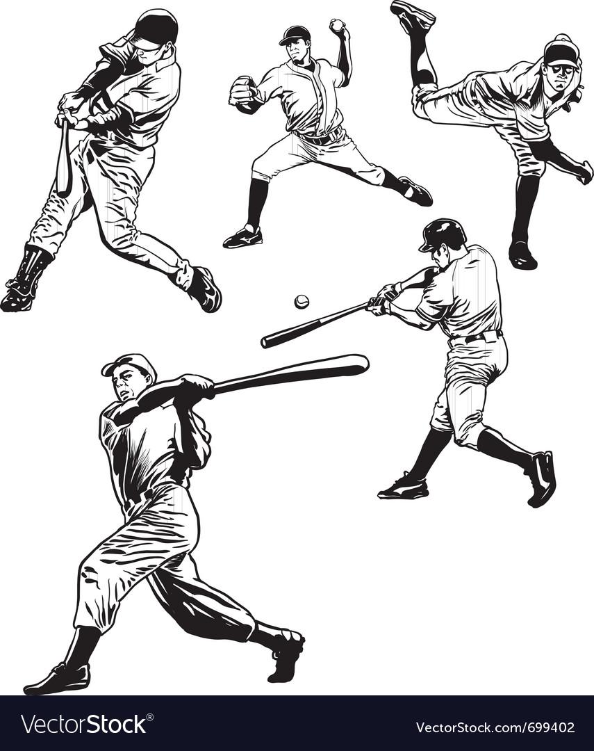 Baseball players vector