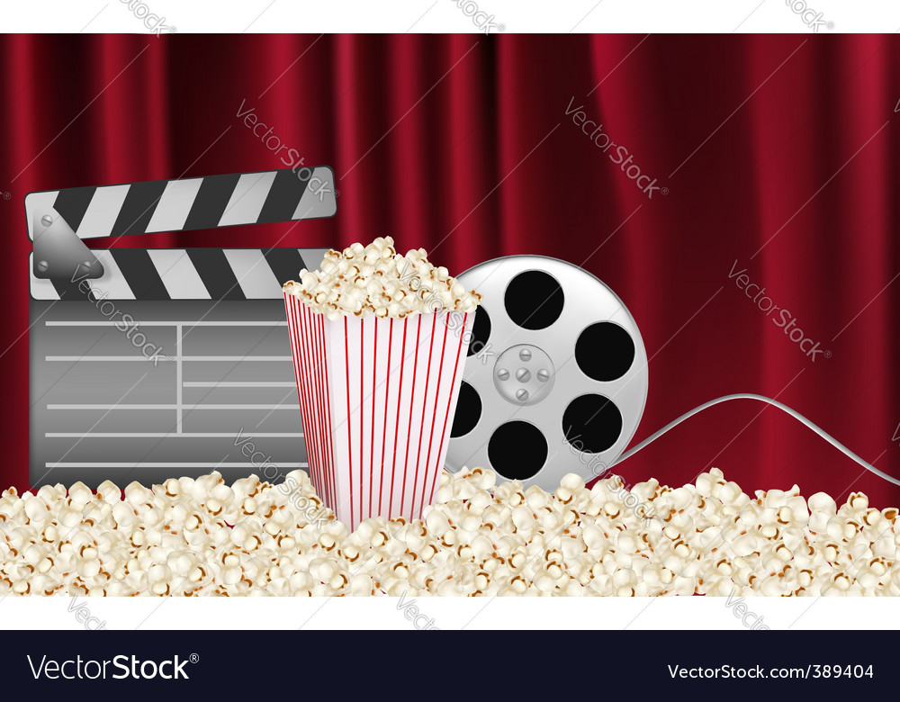 Cinema background with curtains vector