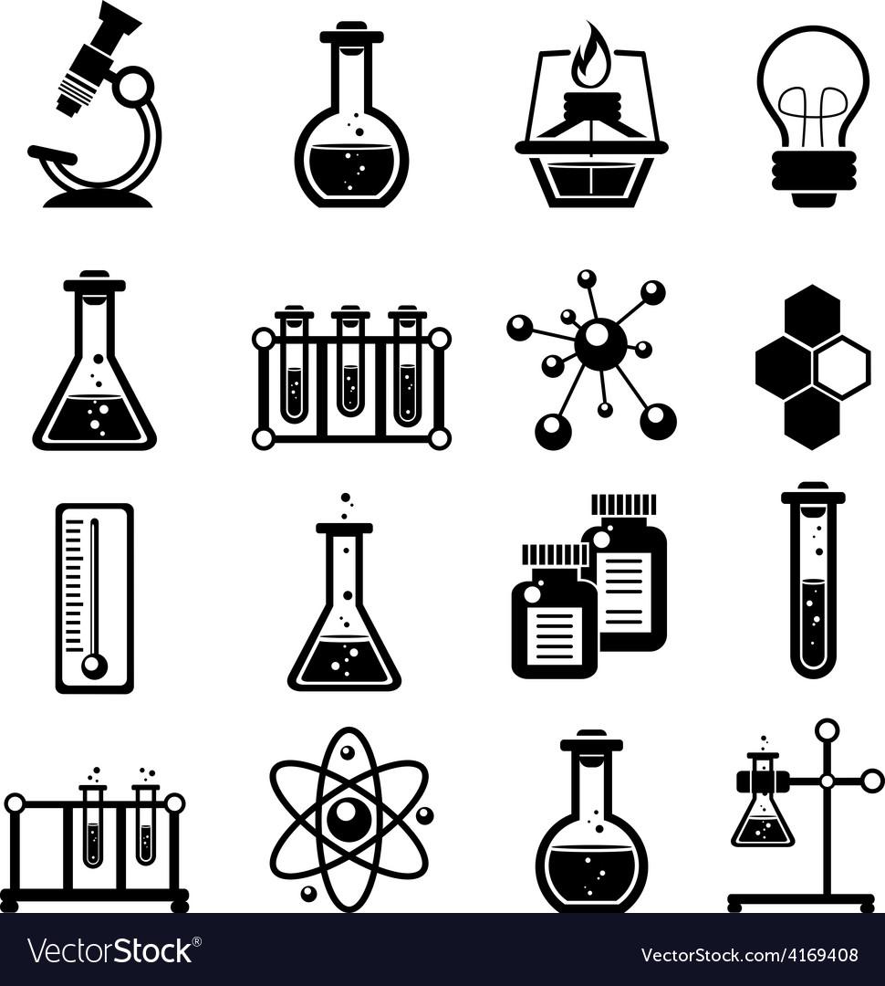 Chemistry icons set black vector