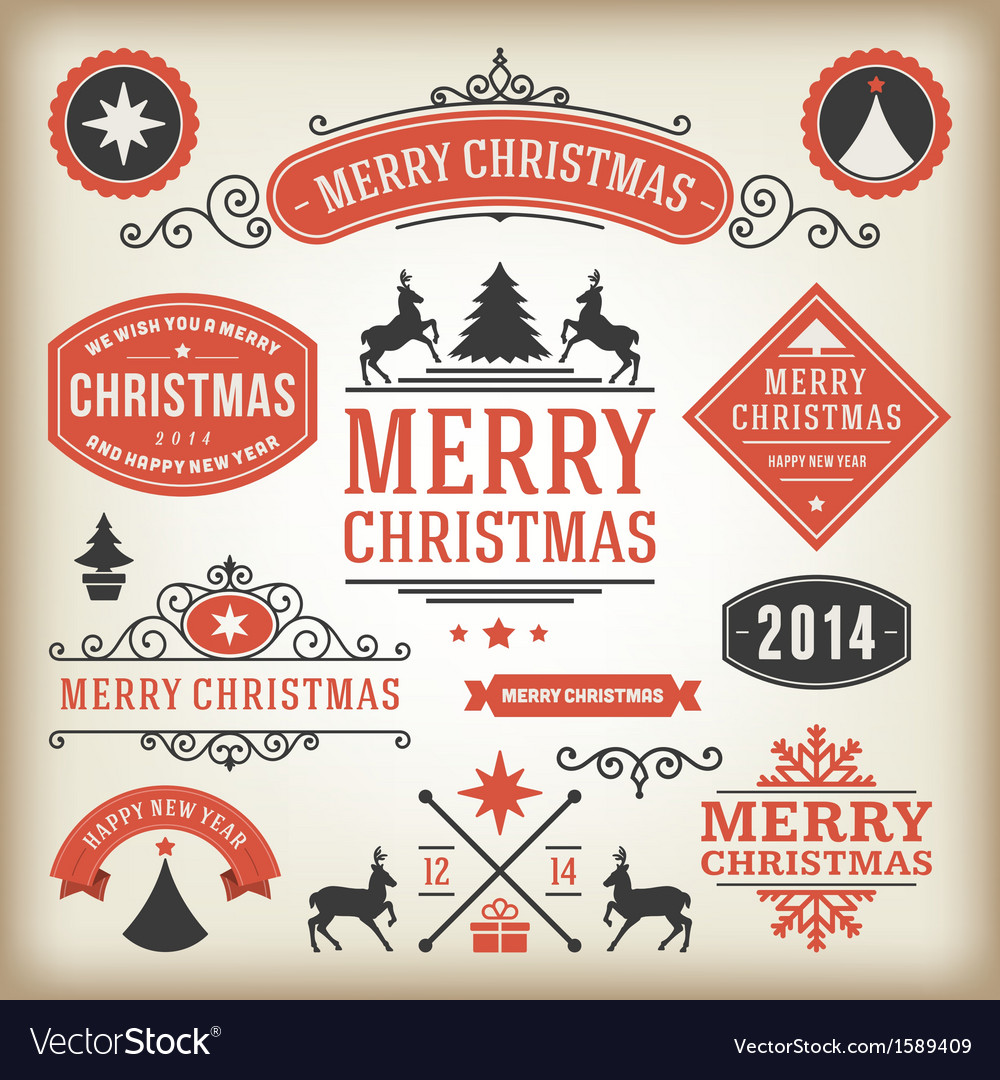 Christmas decoration design elements collec vector