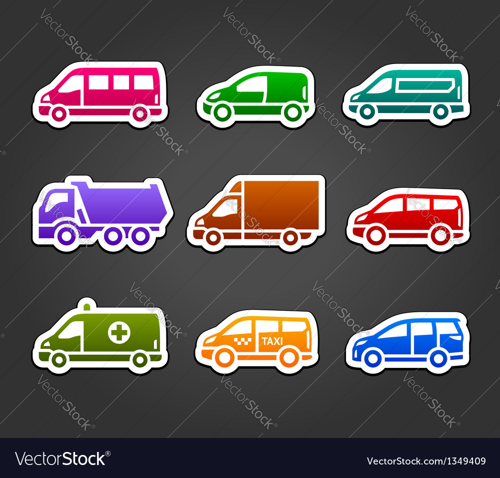 Set of sticky stickers transport color signs vector
