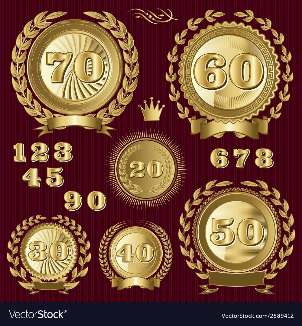 Set retro signs for the anniversary vector