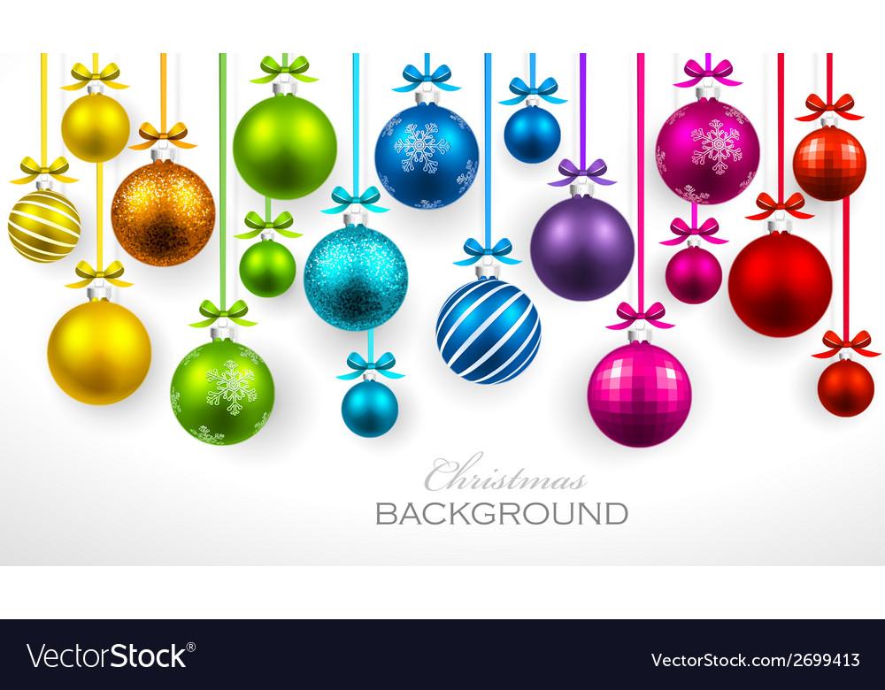 Christmas balls with ribbon and bows vector