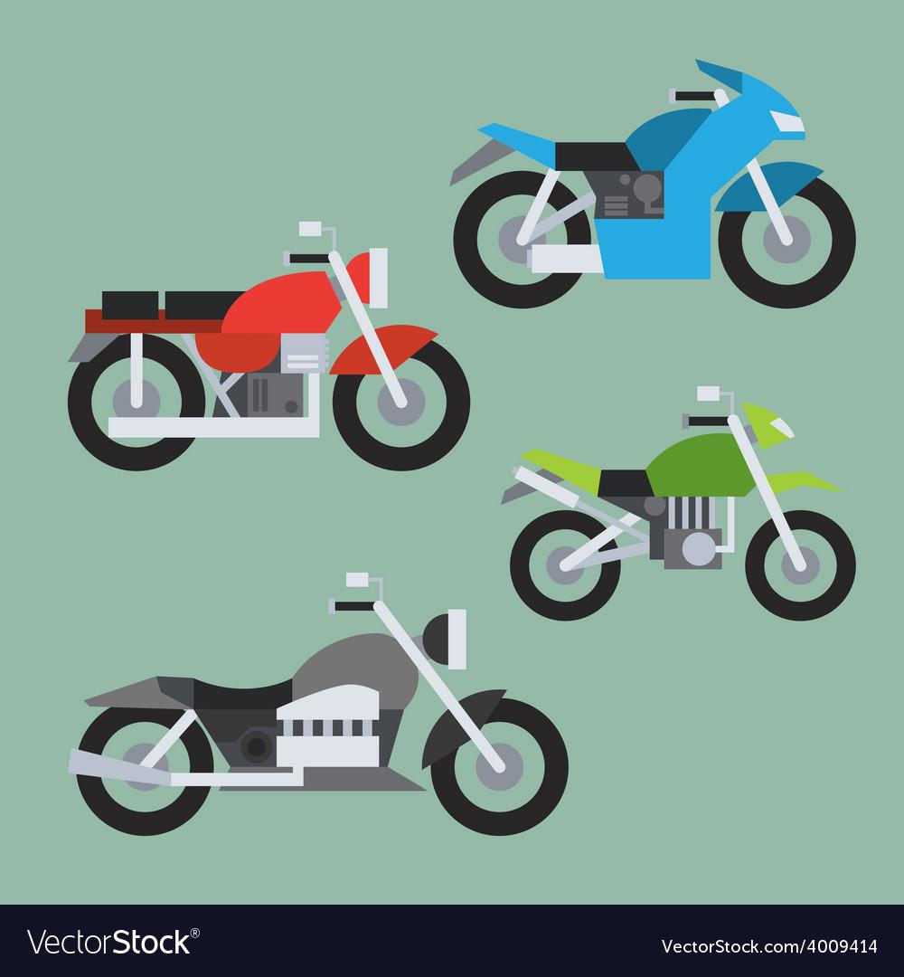Flat design of motorcycle set vector