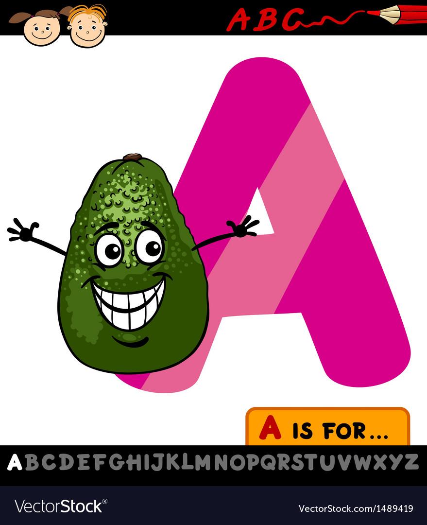 Letter a with avocado cartoon vector