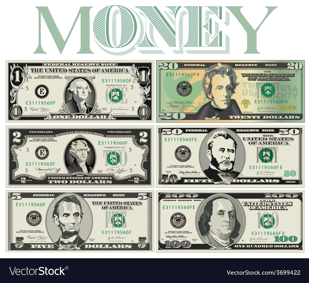 6 stylized drawings of bills vector