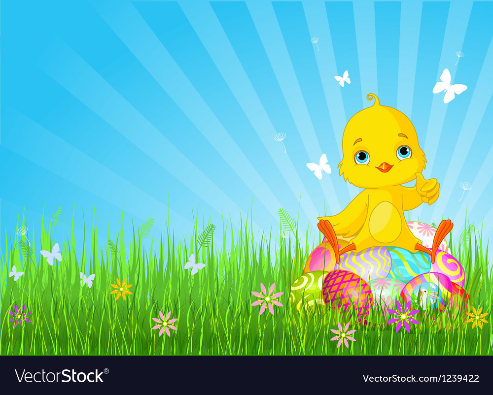 Easter chick sitting on eggs vector