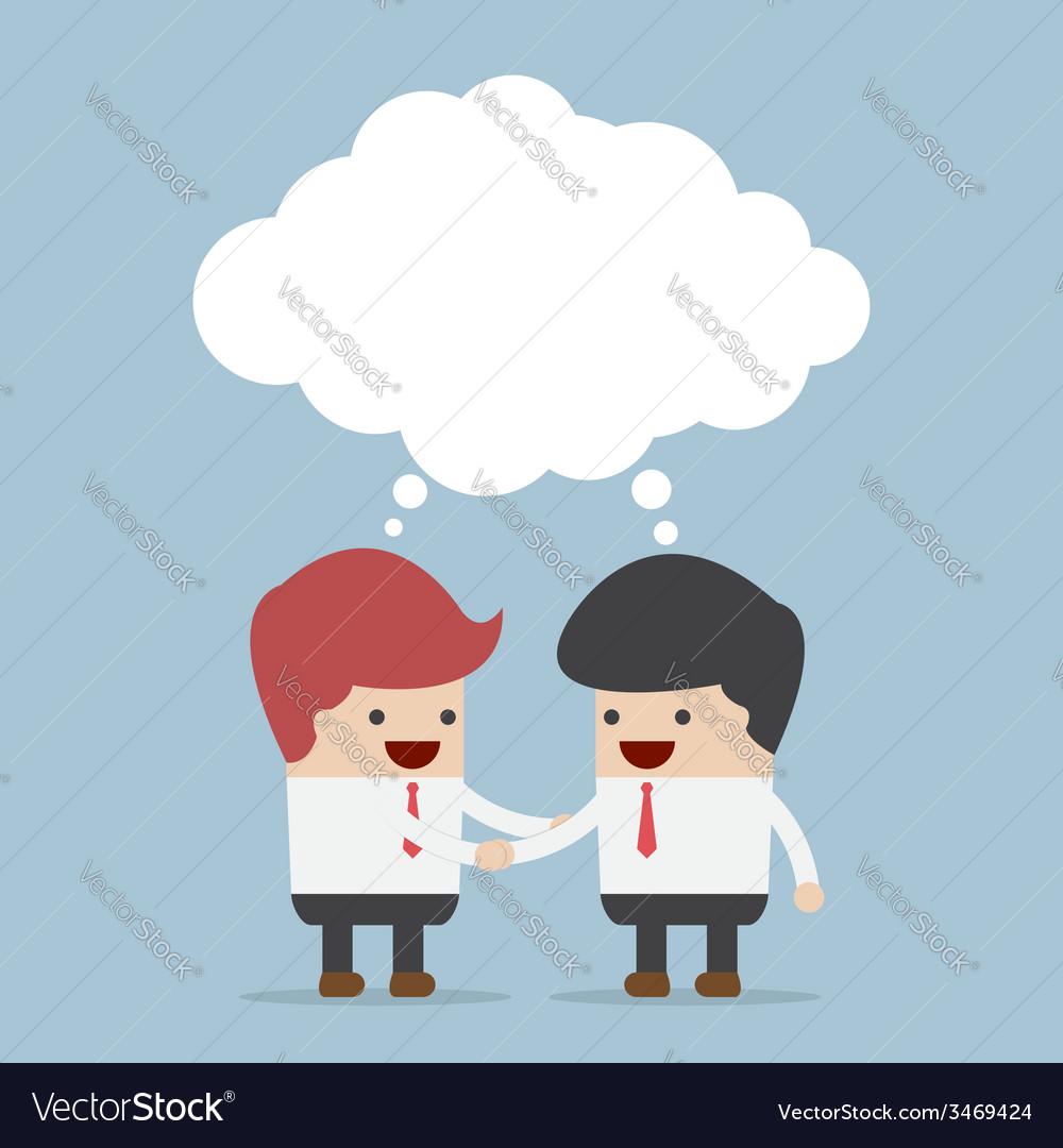 Businessmen shaking hands and blank speech vector