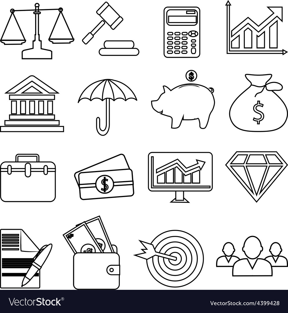 Business finance line icons set vector