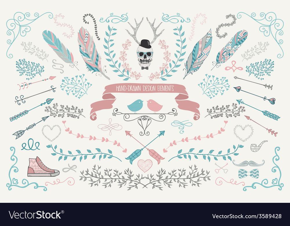 Hand-drawn floral design elements vector