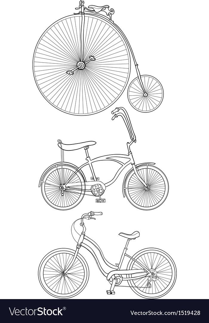 Retro bicycles vector