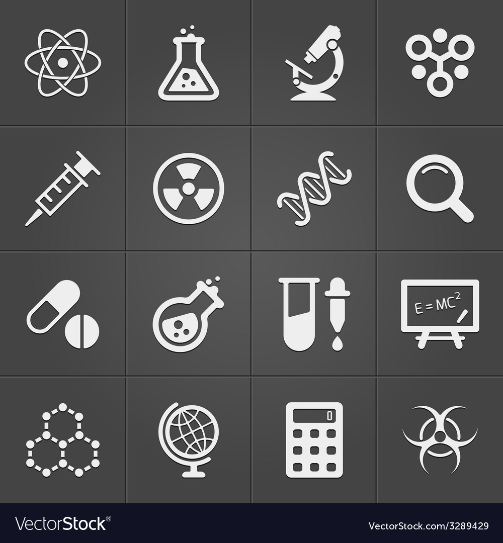 Science and physics related icons on black vector
