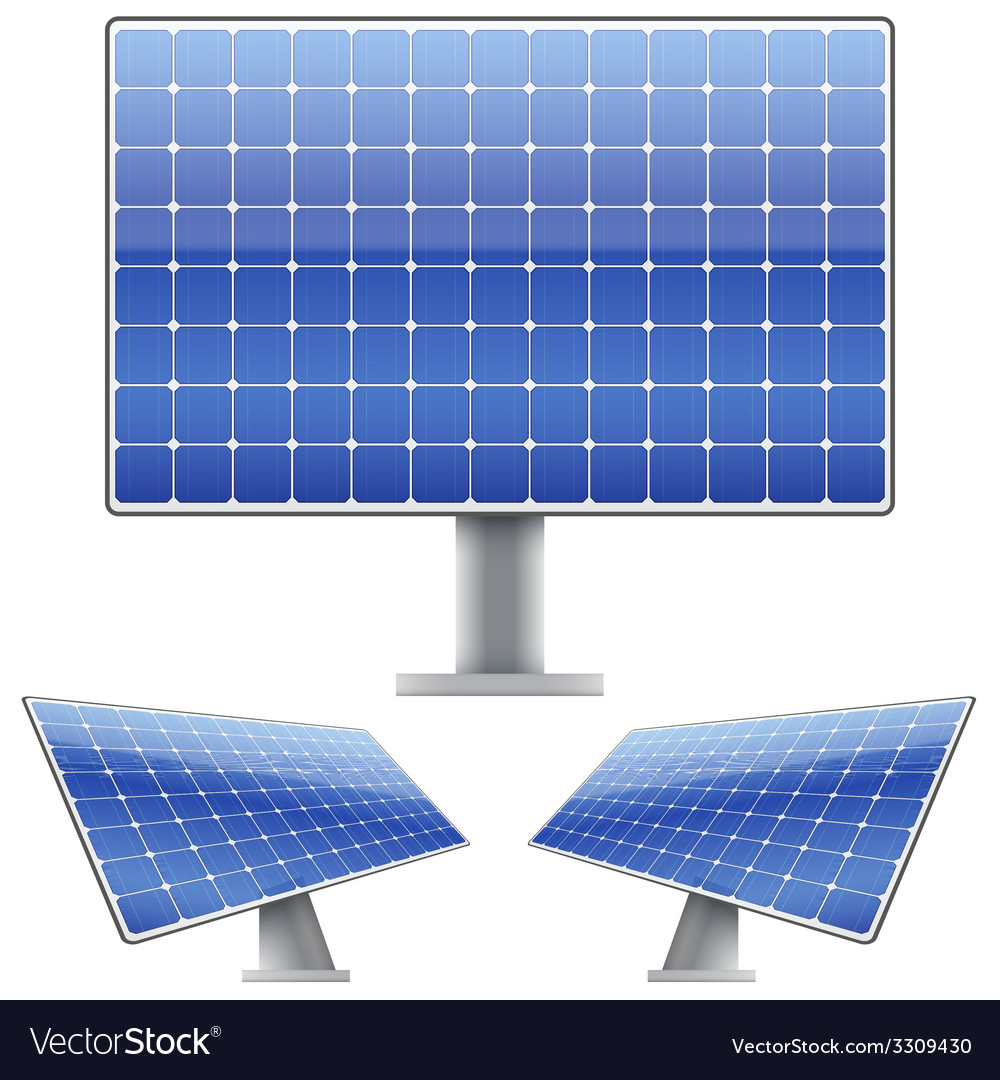 Set of blue electric solar panel for sun light vector