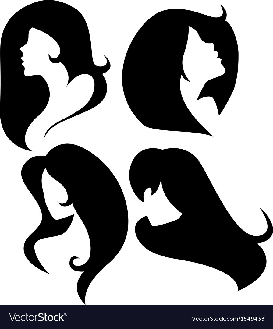 Set of female cameo silhouettes vector