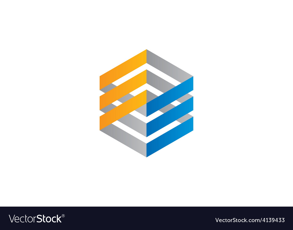 Square line construction abstract logo vector