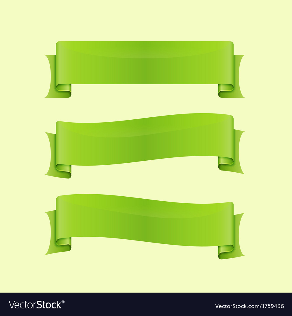 Set of green sleek web ribbon vector