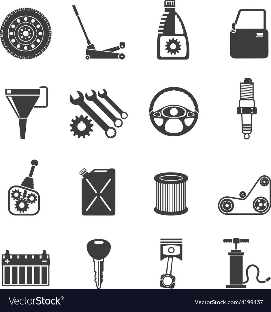 Auto service icons black vector