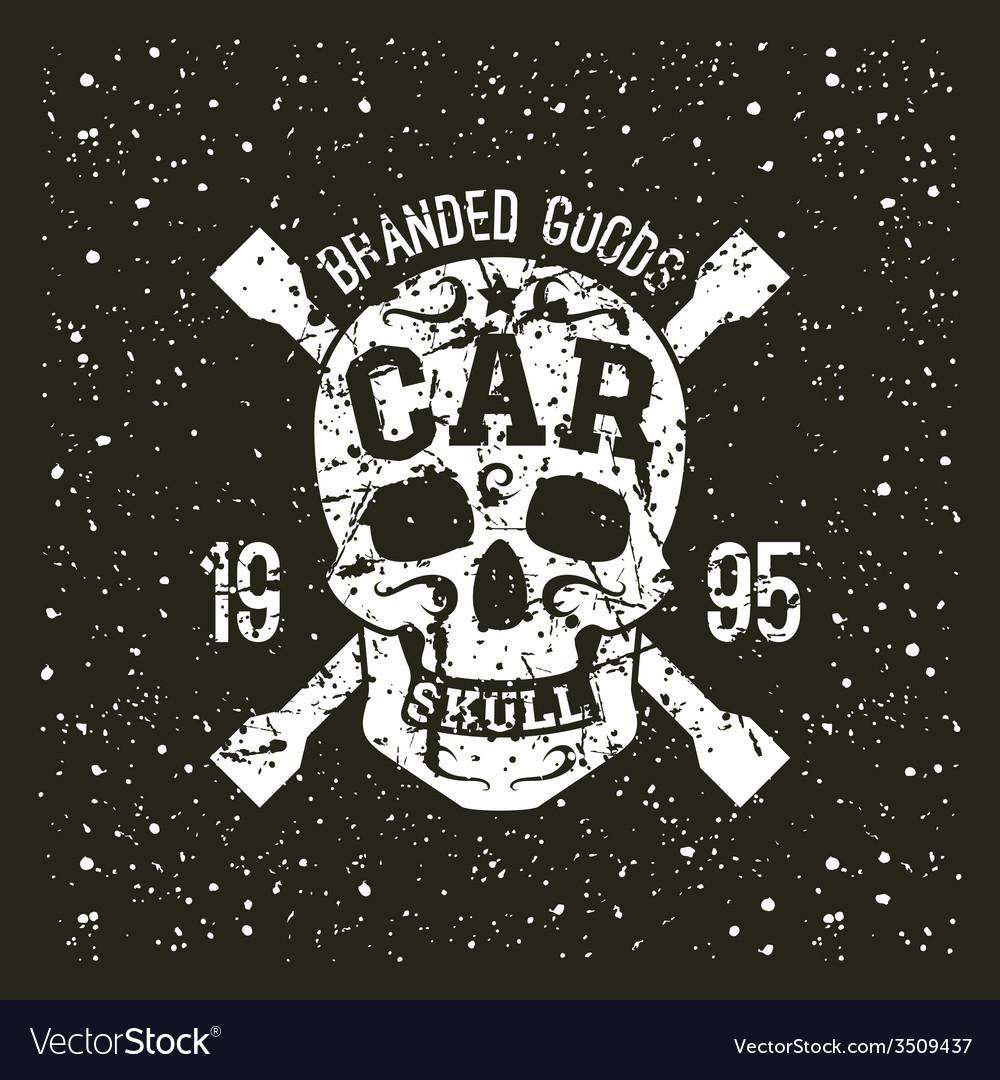 Car skull emblem vector