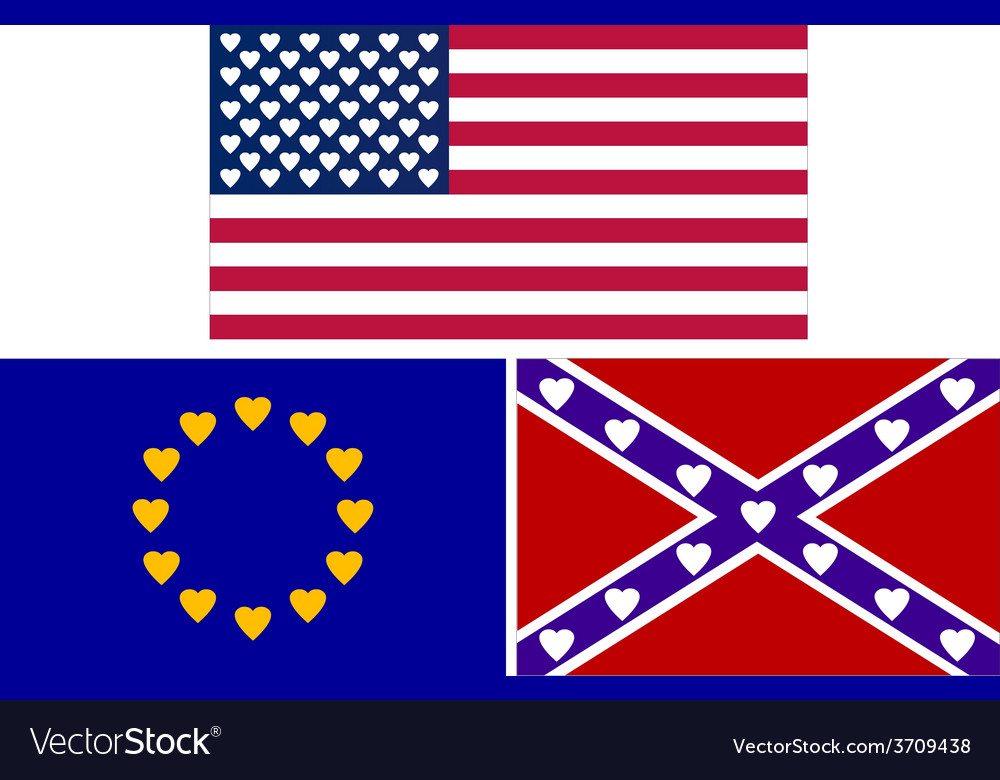Flags with hearts vector