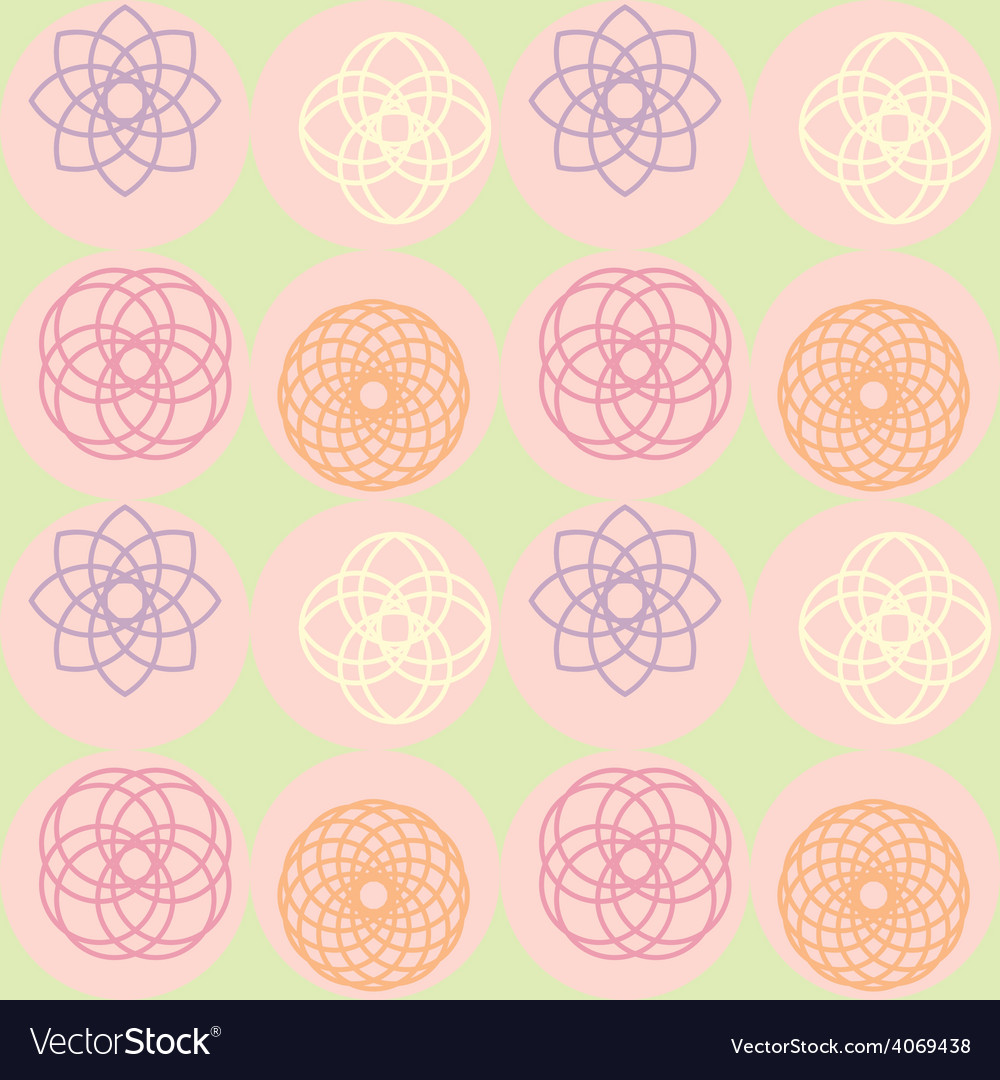Spirograph on dot pattern vector