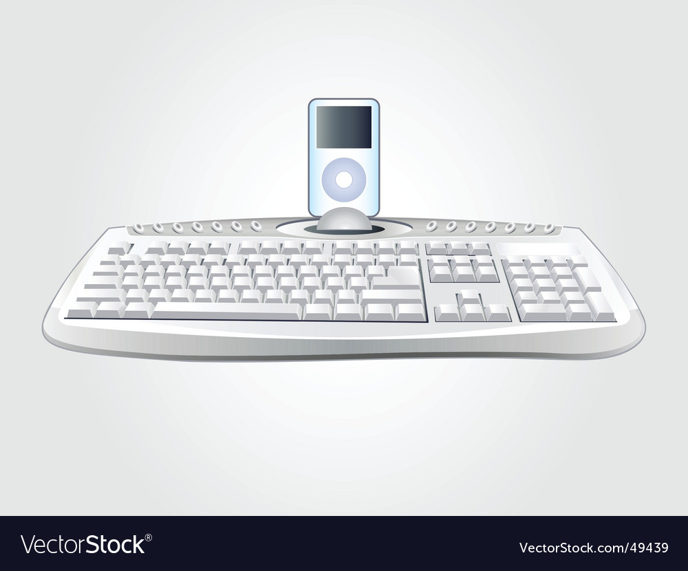 Modern keyboard with multimedia device vector
