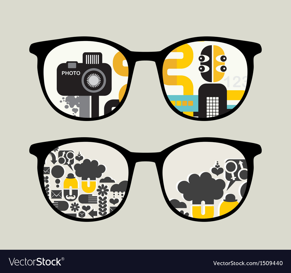 Retro sunglasses with abstract people reflection vector