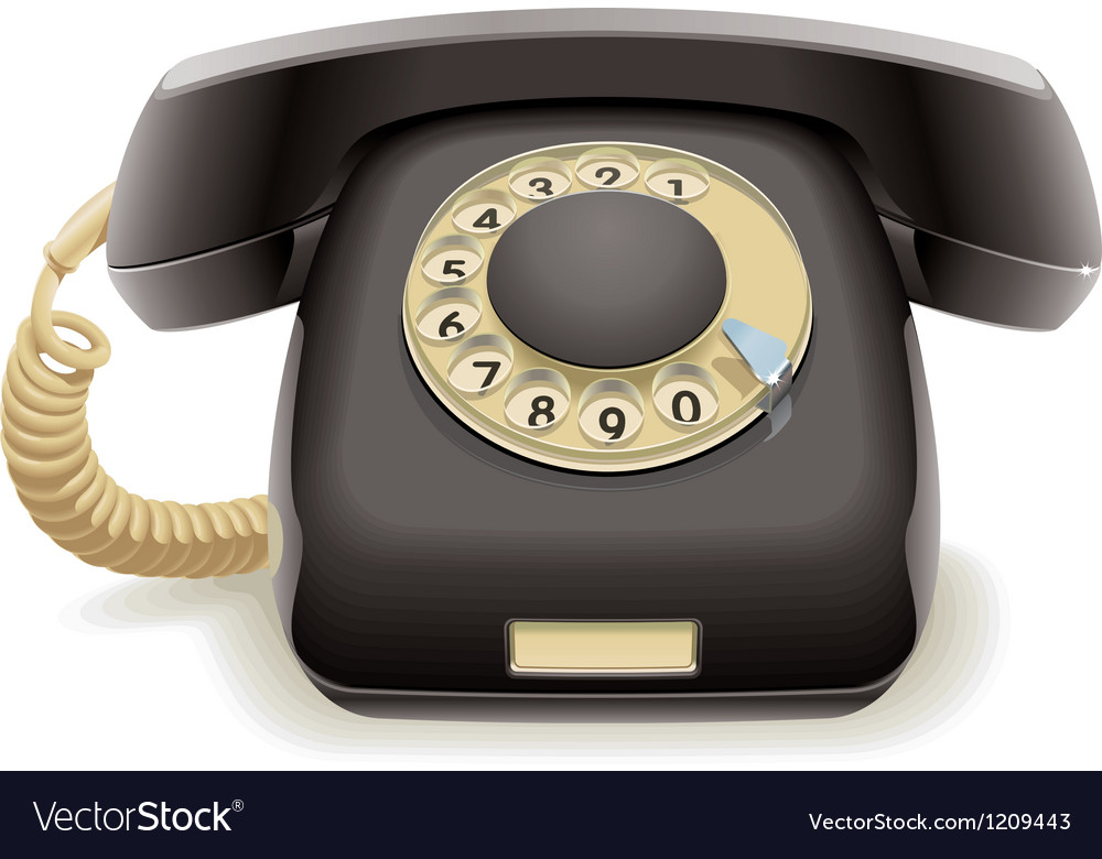 Old black phone vector