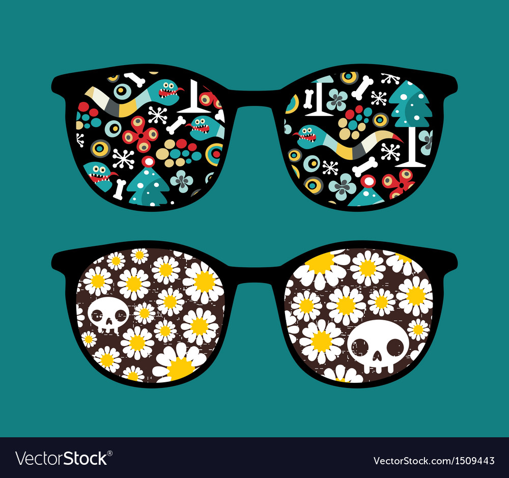 Retro sunglasses with monster snake reflection vector