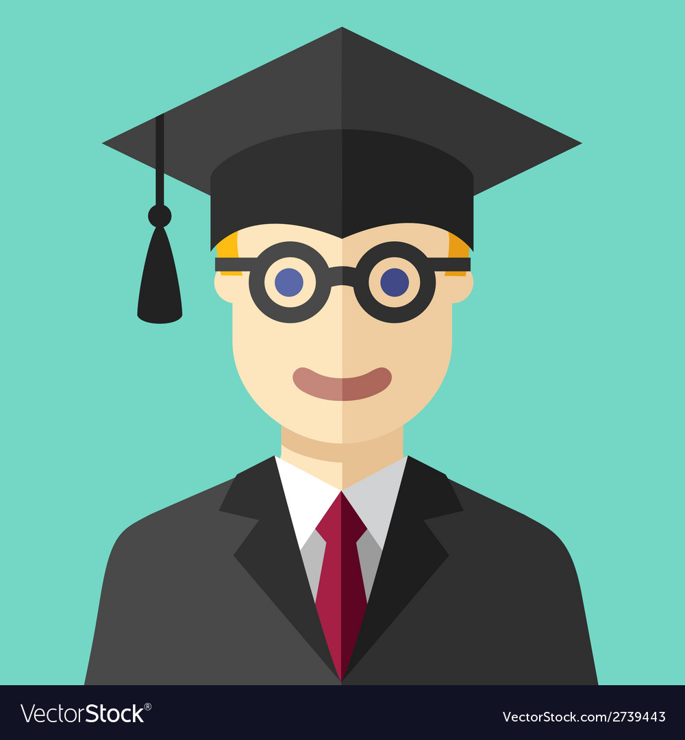 Smiling graduate student flat icon vector
