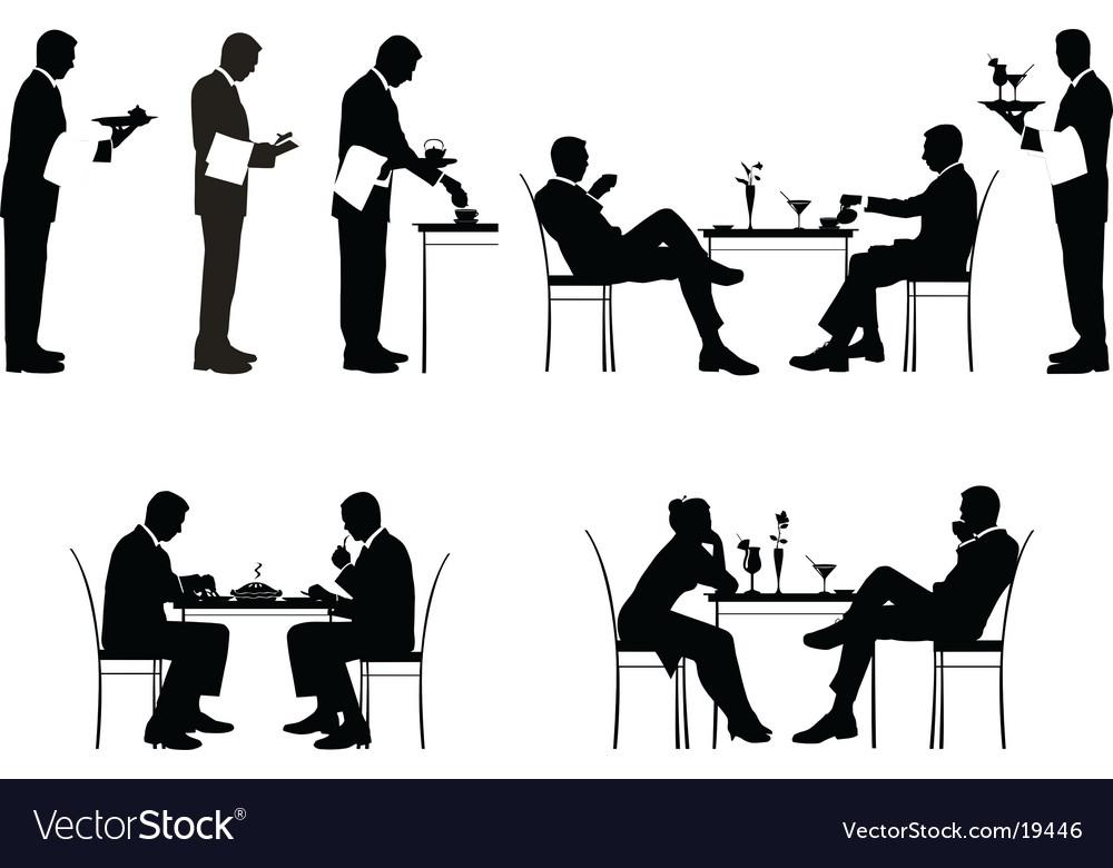 Restaurant silhouettes vector