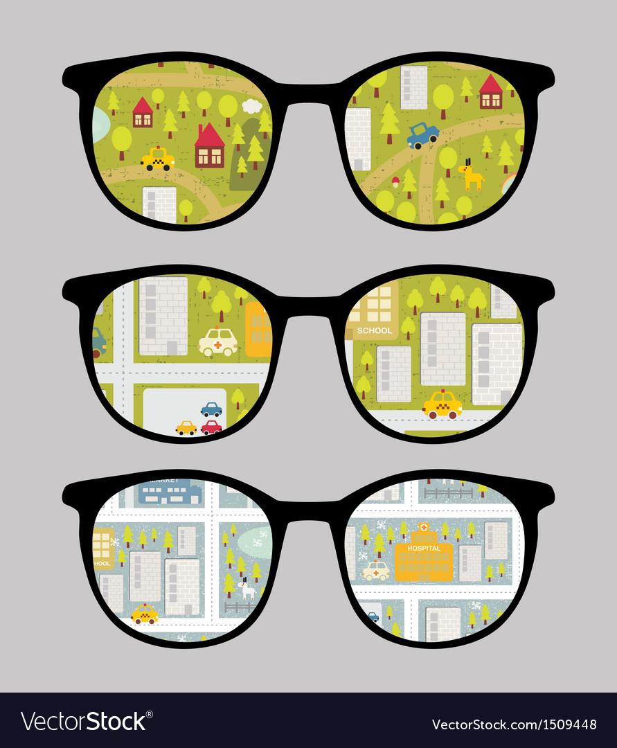 Retro sunglasses with cityscape reflection vector