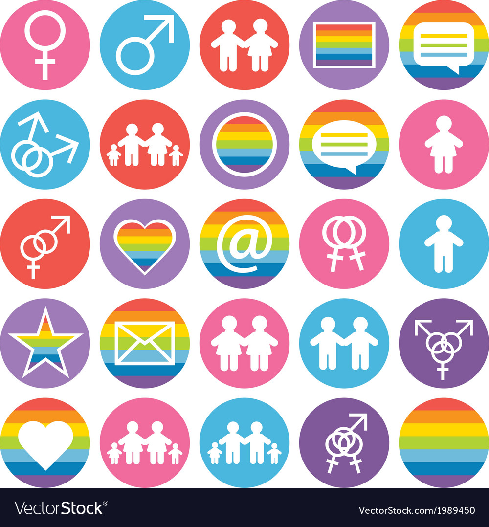 Flat design family and gays icons vector