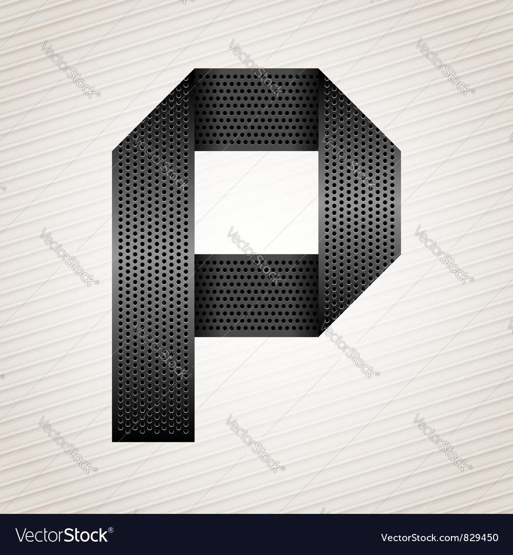 Letter metal ribbon - p vector