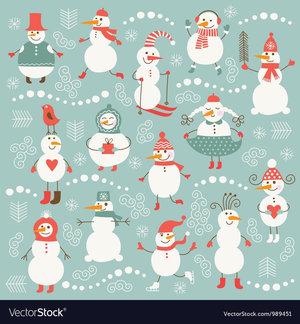 Set of cute snowmans vector