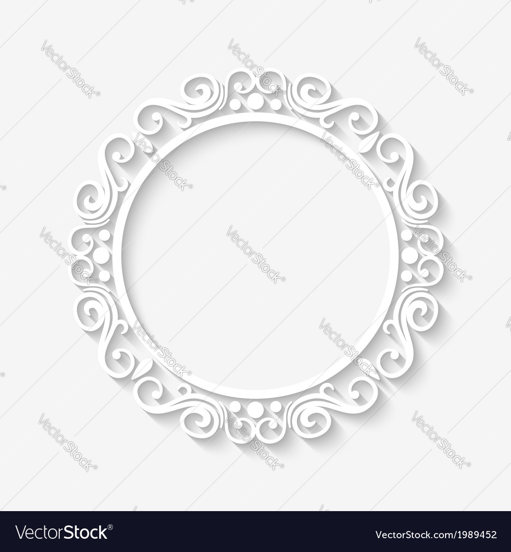 Vintage circle border white frame vector
