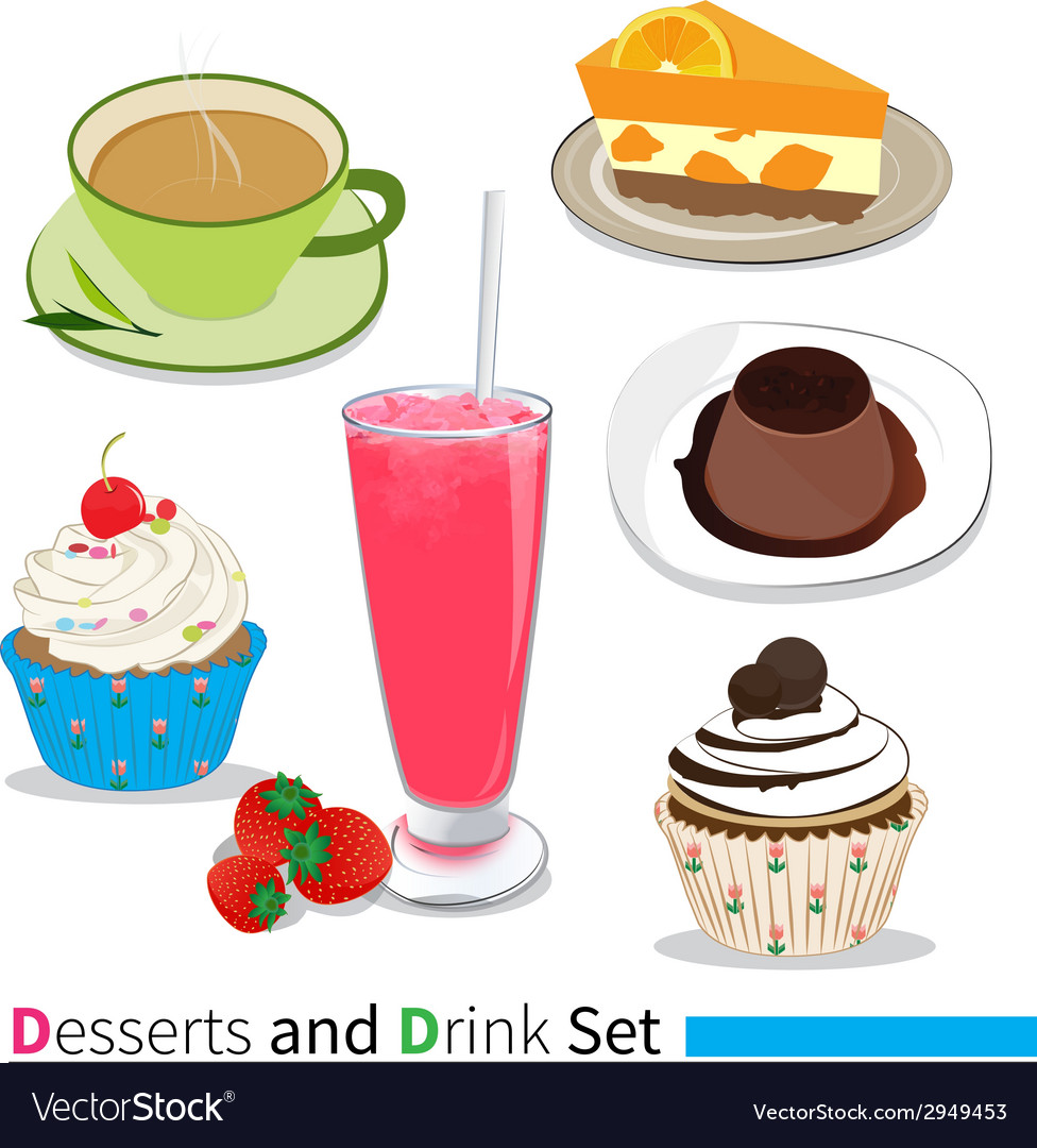 Desserts and drink vector