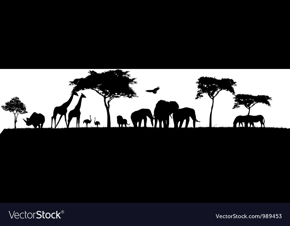 Silhouette of safari animal wildlife vector