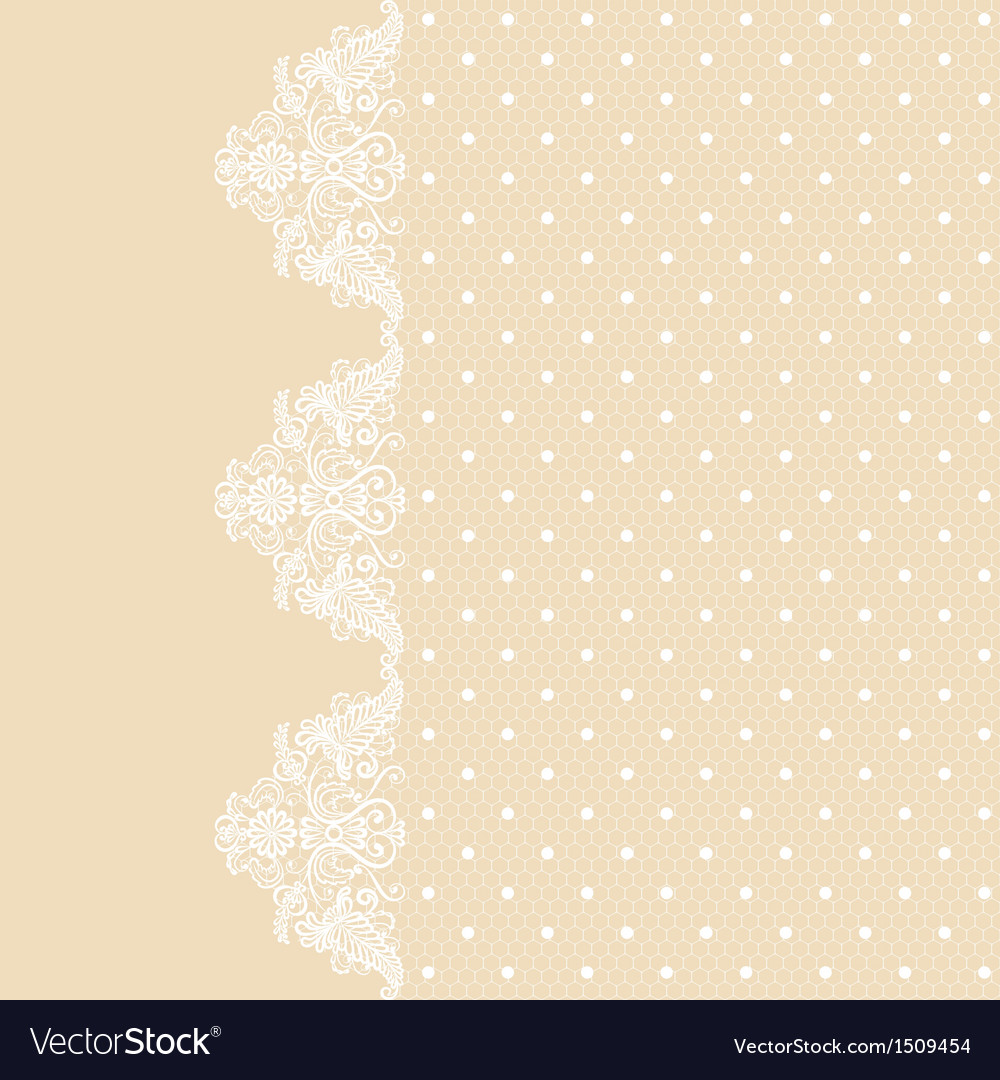 Lace border on beige background vector