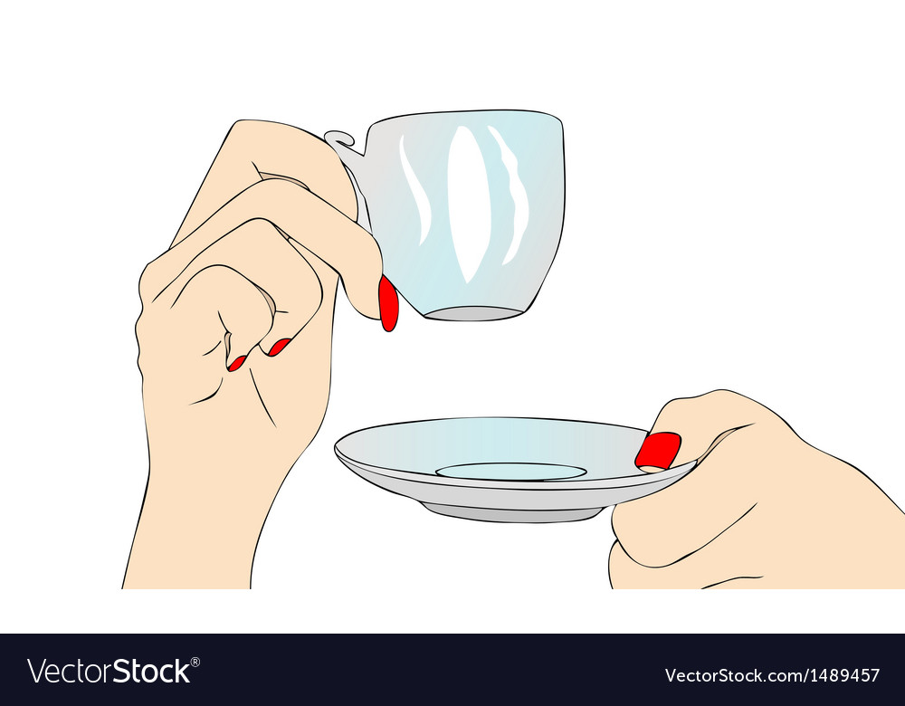 Female hand with cup of coffee vector