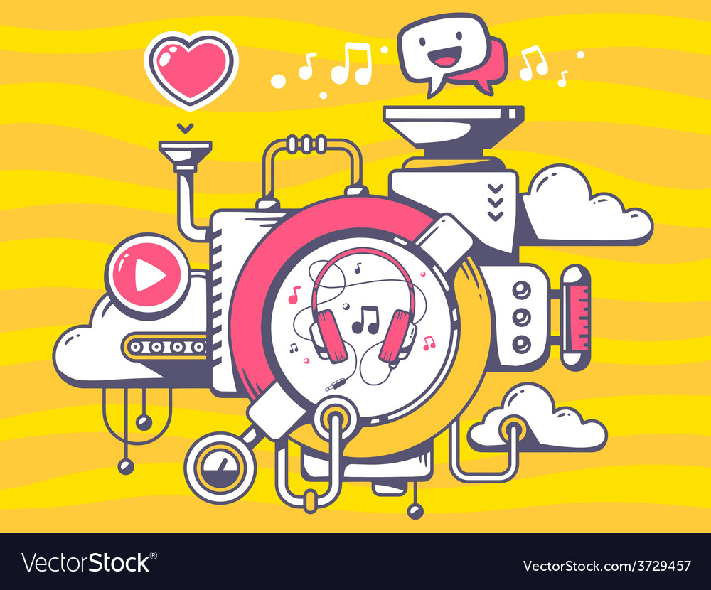 Mechanism with music headphones and relev vector